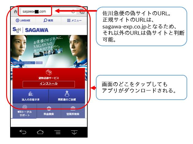 佐川急便の偽サイト